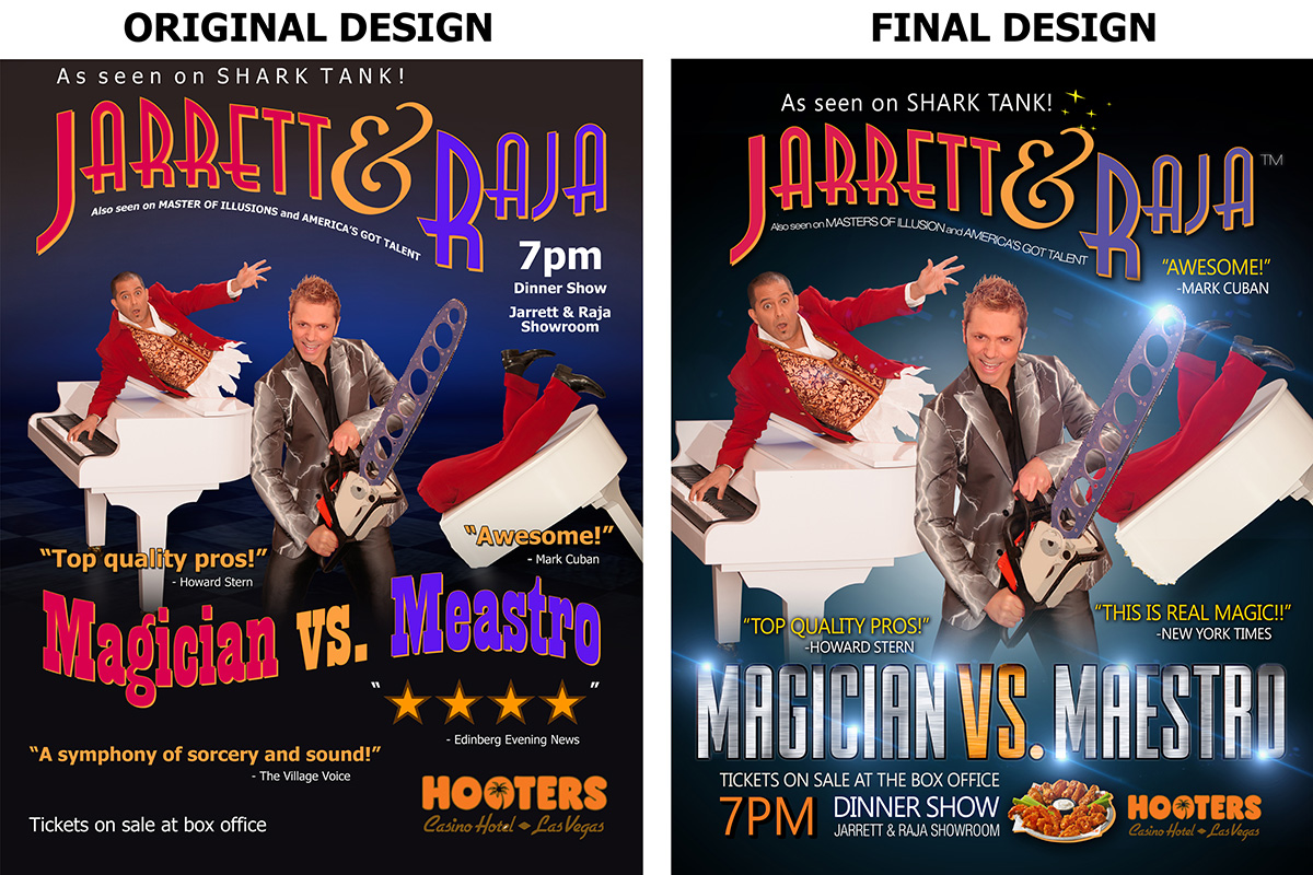 Jarrett & Raja Magician vs. Maestro- Advertising campaign graphic